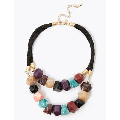 Double Nugget Collar Necklace multi-coloured