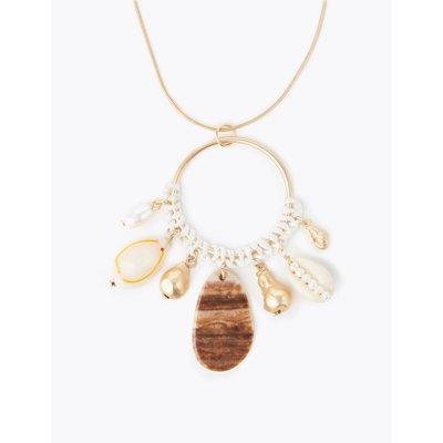 Shell Shape Hoop Pendant Necklaces beige