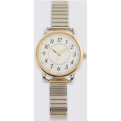 M&S Collection Round Face Expandable Watch, Silver Mix