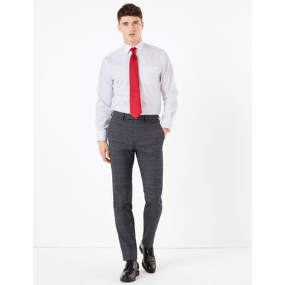 Checked Slim Fit Trousers navy