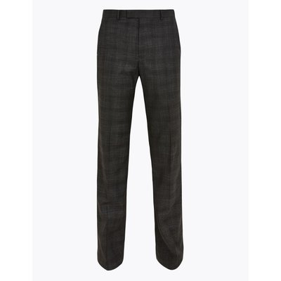 Charcoal Checked Regular Fit Trousers grey