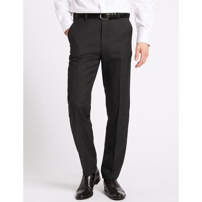 Grey Textured Tailored Fit Trousers grey
