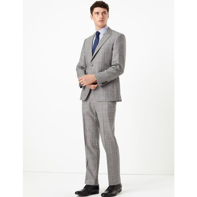 Grey Checked Tailored Fit Wool Jacket grey