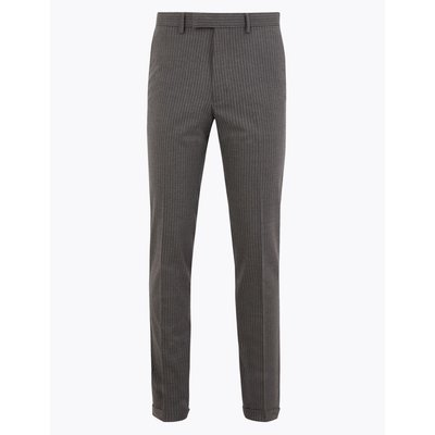Grey Striped Skinny Fit Trousers grey
