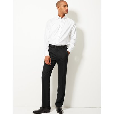 Tailored Fit Pure Wool Flat Front Trousers black