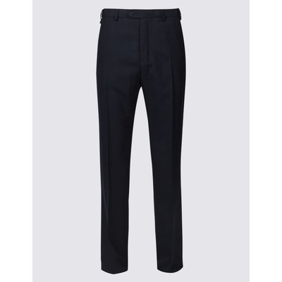 Big & Tall Wool Blend Flat Front Trousers blue, Navy