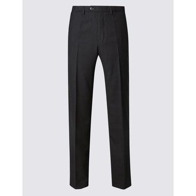Big & Tall Wool Blend Flat Front Trousers black