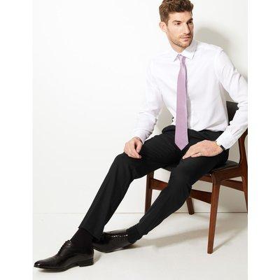 Slim Fit Wool Blend Flat Front Trousers black