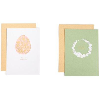 Foiled Easter Egg & Embossed Wreath Easter Cards Pack of 6
