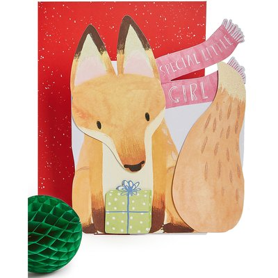 Special Little Girl 3D Fox Christmas Charity Card