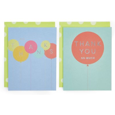 Pack of 8 Balloon Thank You Cards