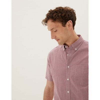 Laundered Cotton Regular Fit Checked Shirt red