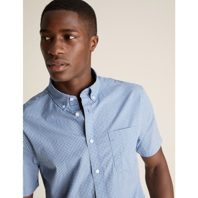 Laundered Cotton Regular Fit Checked Shirt blue