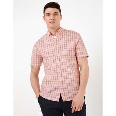 Laundered Cotton Regular Fit Checked Shirt pink