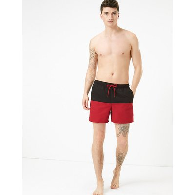 M&S Collection Quick Dry Colour Block Swim Shorts, Red Mix