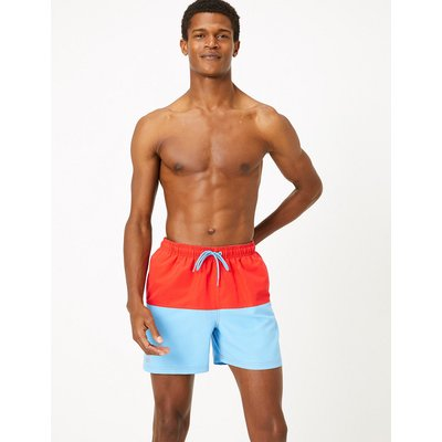M&S Collection Quick Dry Colour Block Swim Shorts, Light Blue Mix