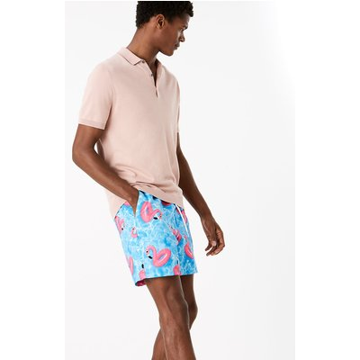 M&S Collection Quick Dry Flamingo Print Swim Shorts, Blue Mix