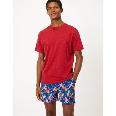 M&S Collection Quick Dry Tropical Print Swim Shorts, Denim Mix