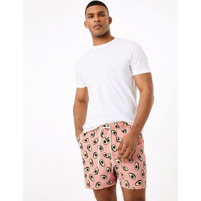 M&S Collection Quick Dry Avocado Printed Swim Shorts, Orange Mix