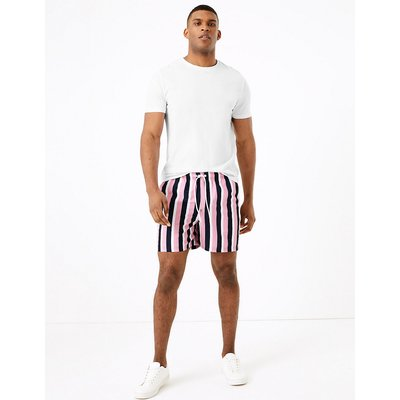 M&S Collection Quick Dry Vertical Striped Swim Shorts, Pink Mix