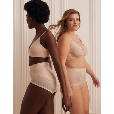 M&S Collection Firm Control Sheer Stripe No VPL High Leg Knickers