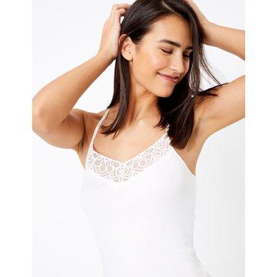 Cotton Rich Ribbed Lace Trim Vest white
