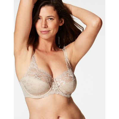Jacquard & Lace Non-Padded Full Cup Bra DD-H beige