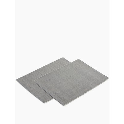 Set of 2 Rib Woven Placemats grey, Charcoal