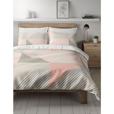 Cotton Mix Geometric Bedding Set with Fitted Sheet pink