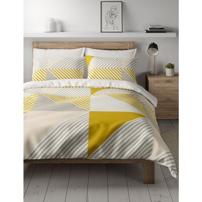 Cotton Mix Geometric Bedding Set with Fitted Sheet yellow