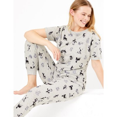 Yoga Cat Print Short Sleeve Pyjama Set grey
