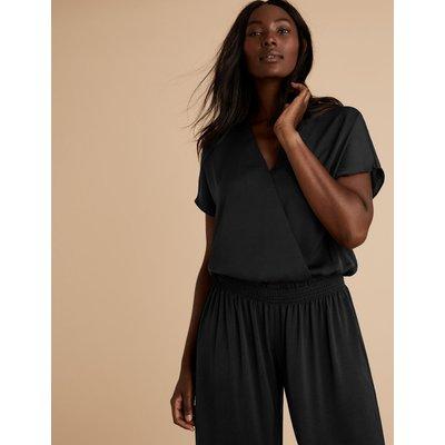 Satin Short Sleeve Pyjama Top black