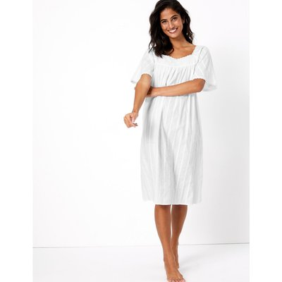 Cotton Embroidered Nightdress white