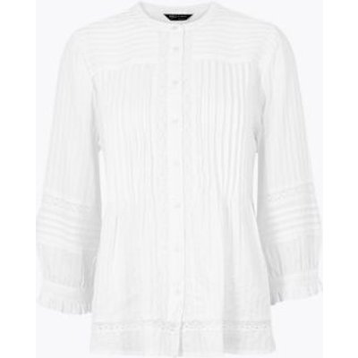 M&S Womens Pin Tuck Lace Insert Long Sleeve Blouse - 6 - White, White