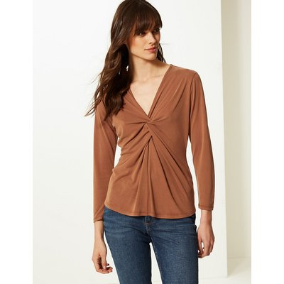 M&S Collection Twisted Front V-Neck Long Sleeve Top