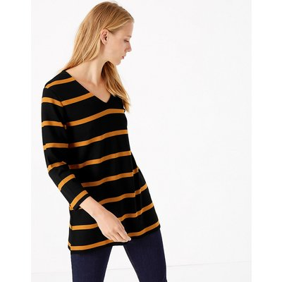M&S Collection Striped 3/4 Sleeve Tunic