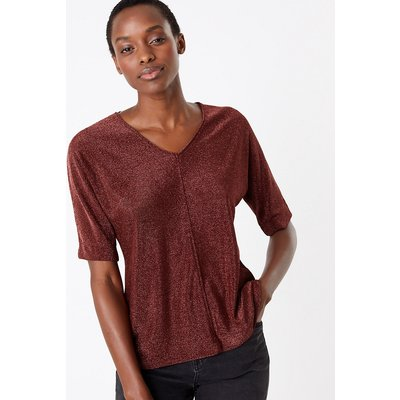 M&S Collection Metallic V-Neck Short Sleeve Top