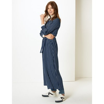 M&S Collection Striped Tie Waist Shirt Maxi Dress