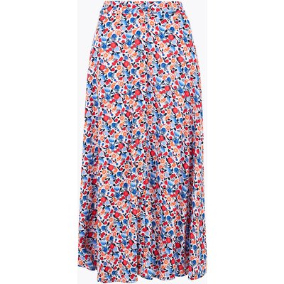 M&S Collection Fruit Print Button Front Midi A-Line Skirt