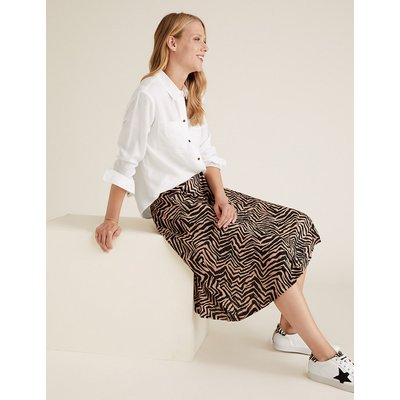 M&S Collection Jersey Zebra Print Pleated Midi Skirt