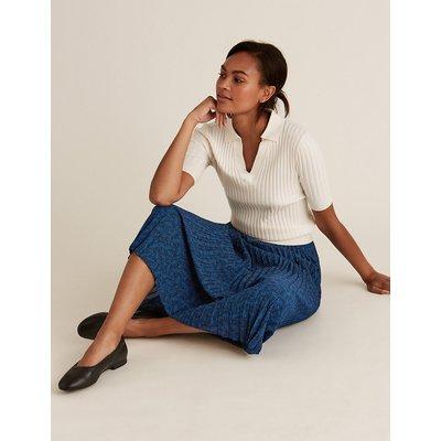 M&S Collection Leaf Print Pleated Midi Skirt