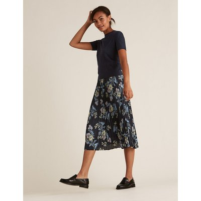 M&S Collection Floral Midi Pleated Skirt