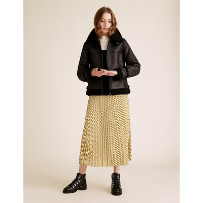 M&S Collection Geometric Midaxi Midi Pleated Skirt