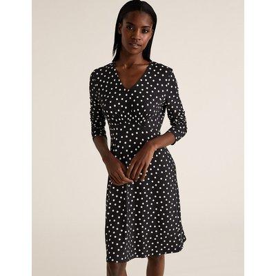 M&S Collection Jersey Polka Dot V-Neck Fit & Flare Dress