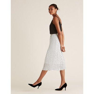 M&S Collection Polka Dot Plisse Midi Fit & Flare Skirt
