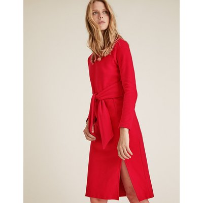M&S Collection Jersey Brushed Belted Midi Shift Dress