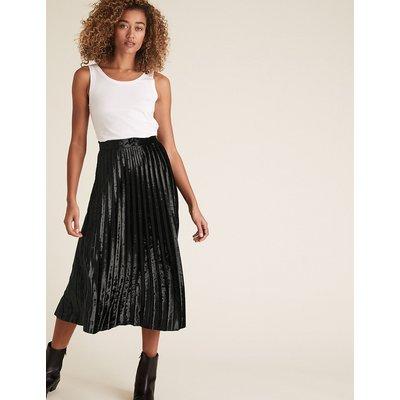 M&S Collection Jersey Velvet Pleated Midi Skirt