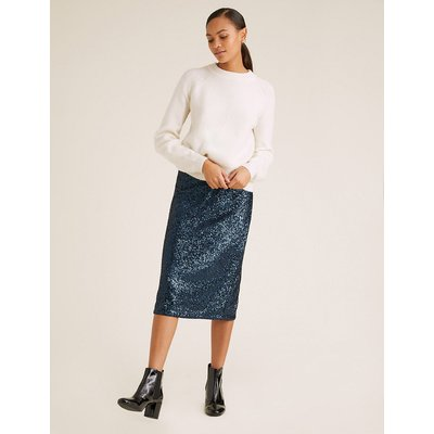 M&S Collection Sequin Midi Straight Skirt