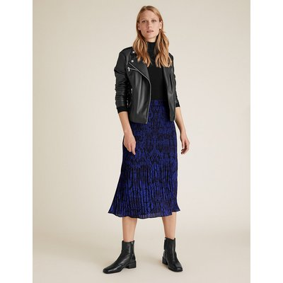 M&S Collection Snake Print Plisse Midi Straight Skirt