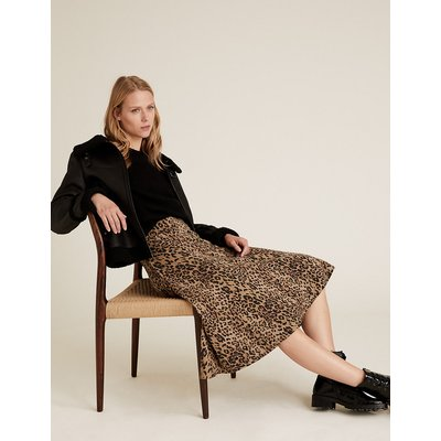 M&S Collection Cotton Jersey Animal Print Midi Skirt